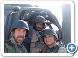Phillip with Chuck Norris and Marshall Teague during USO tour in Iraq.